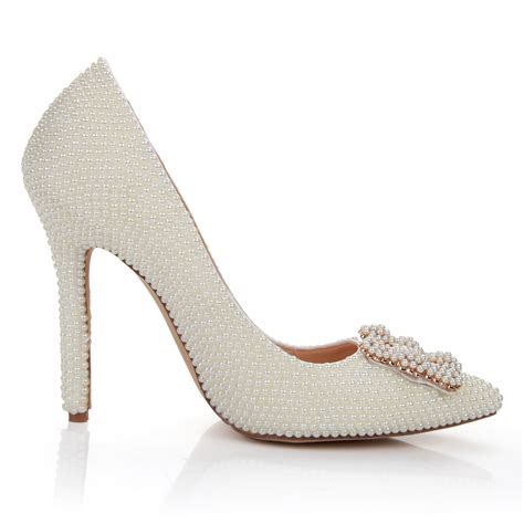 high heels with pearls soft white pearl high heel wedding shoes