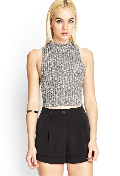 cropped sweater forever 21 cropped sweater tank in gray grey lyst