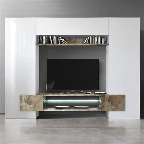 Meuble Tv Mural Blanc by Meuble Mural Tv Blanc Laqu 233 Et Bois Sofamobili
