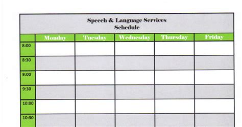 Speech Schedule Template the learning curve scheduling tips for elementary school speech language pathologists