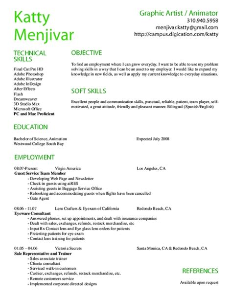 computer animation resume sles on resume resume templates and animation