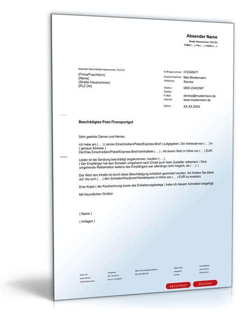 Musterbrief Reklamation Ware Beschwerde Besch 228 Digtes Postgut Muster Vorlage Zum