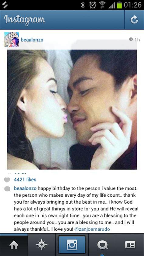 latest update of zanjoe and bea alonzo viral instagram photo of bea alonzo kissing zanjoe marudo