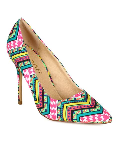 aztec pattern heels shoes liliana cb35 women fabric tribal pattern pointy toe
