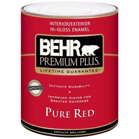 high gloss paint behr premium plus 1 qt pure red hi gloss enamel interior