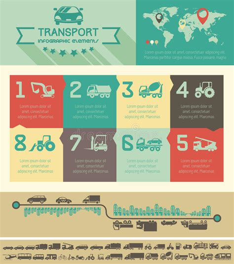transportation infographic template royalty  stock