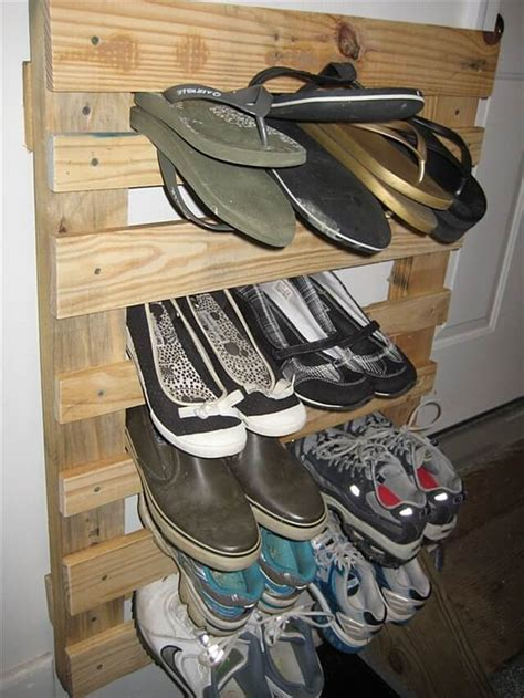 diy shoe racks pallet wood redone to create a shoe rack pallet