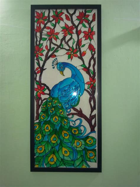 glass painting a glass painting of a peacock using fevicryl hobby ideas
