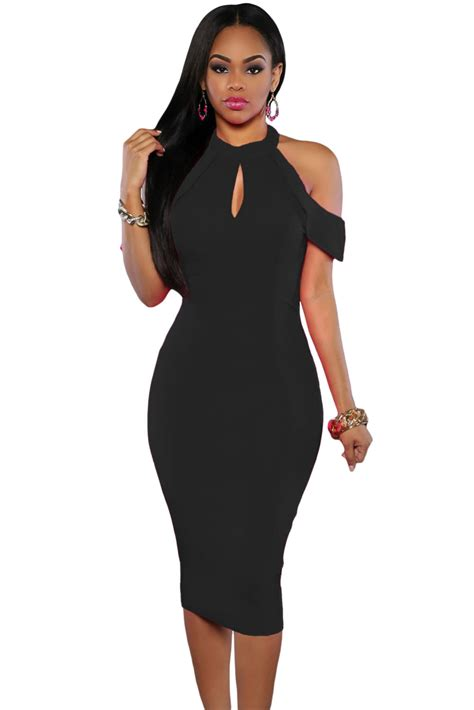 Cutout Shoulder Midi Dress wholesale black cold shoulder cutout halter midi