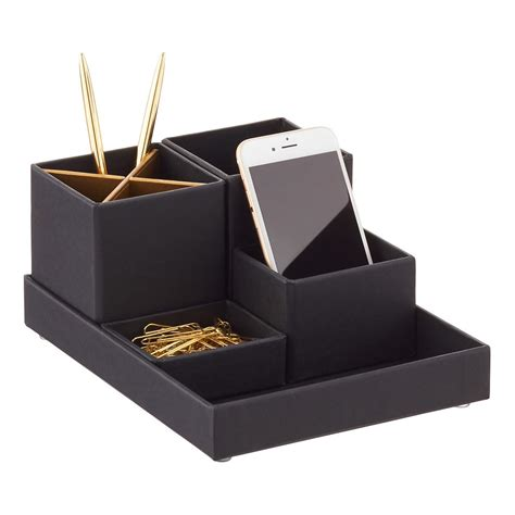 Desktop Organizer bigso black gold stockholm desktop organizer the