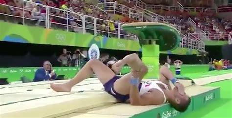french gymnast suffers horrific leg injury after vault video french gymnast samir ait said suffers broken leg at