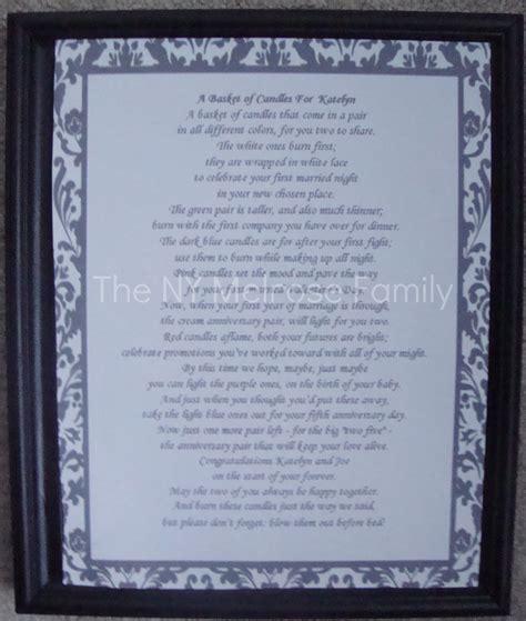Candle Poem For Bridal Shower by Bridal Shower Gift Candle Poem Basket The Family