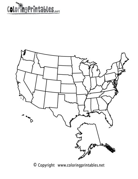 usa map color x coloring pages