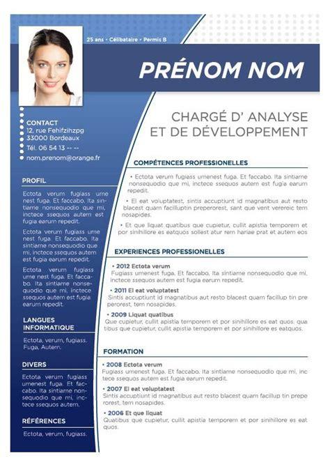 Modele De Curriculum Gratuit by Modele Cv Couleur Gratuit Mod 232 Les De Cv Cv