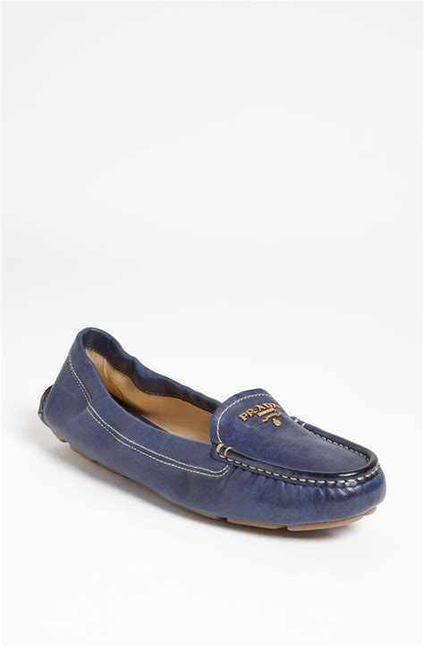 prada loafers prada scrunch loafer in blue lyst
