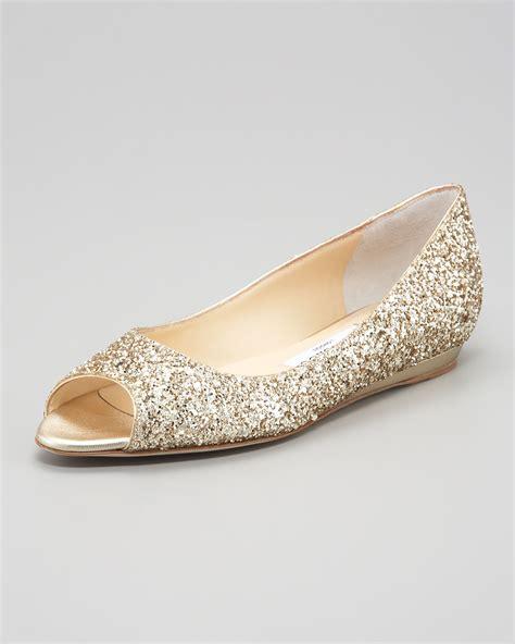 jimmy choo flat shoes jimmy choo beck opentoe glitter flat chagne in metallic