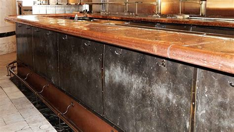 Hammered Copper Bar Top by Riveted Steel Bar Front With Hammered Copper Top