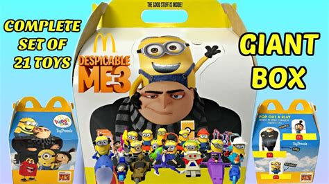 Happy Meal Despicable Me3 2017 mcdonalds despicable me 3 set of 21 happy meal minions toys unboxing