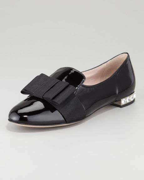 miu miu loafers miu miu patent leather bow loafer in black lyst