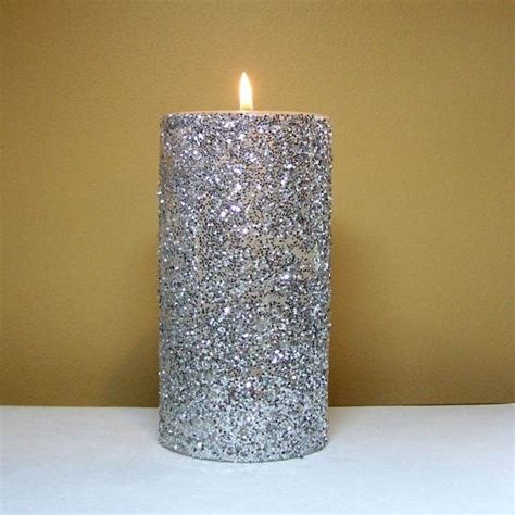Handmade Decorative Candles - silver glitter pillar candle decorative unscented candle