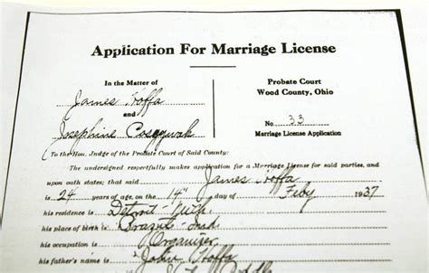 Wood County Marriage Records Legendary Teamsters Was Wed In Bowling Green The Blade