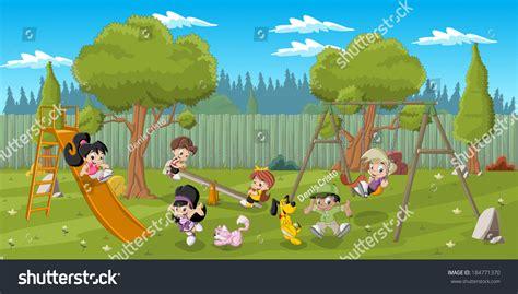 Kids Playing In Backyard Cute Happy Cartoon Kids Playing Playground Stock Vector