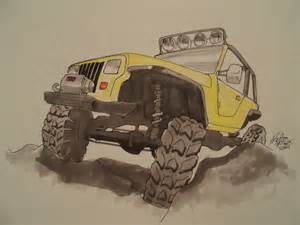 Drawing Jeep Jeep Yj Rock Crawler Drawing By Prestonthecarartist On