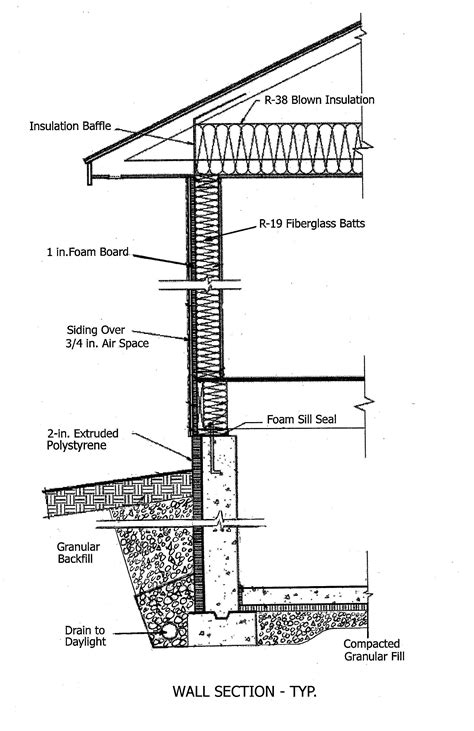 construction section drawing typical wall section school drafting pinterest