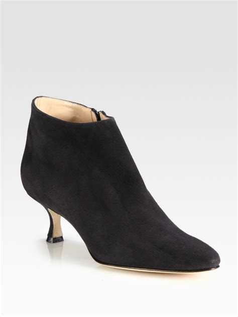 manolo blahnik suede ankle boots in gray grey lyst
