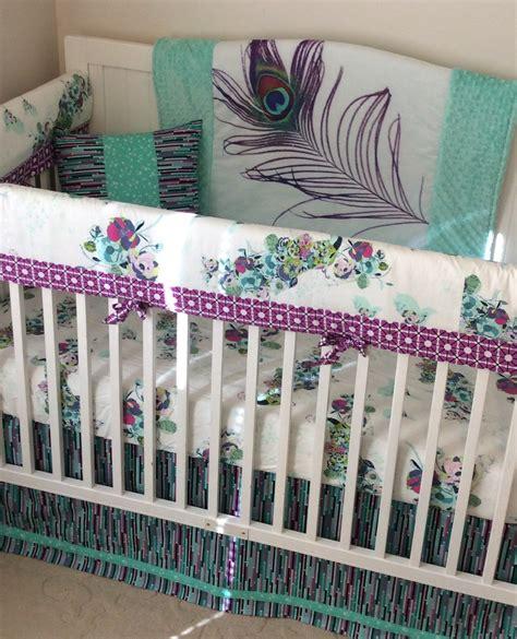 purple nursery bedding sets baby crib bedding set teal purple mint peacock made to