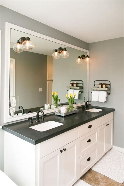 bathroom vanity double marble top the master bathroom has black granite countertops with