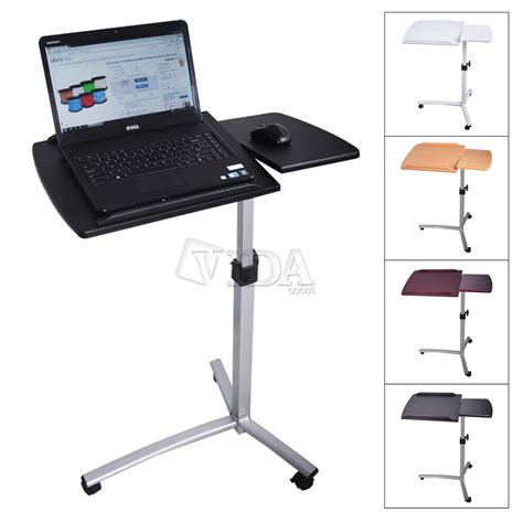 Bed Desk Laptop Angle Height Adjustable Rolling Laptop Desk Bed Hospital Table Stand Ebay