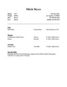 Beginner Actor Resume Sle by 10 Acting Resume Templates Free Word Pdf