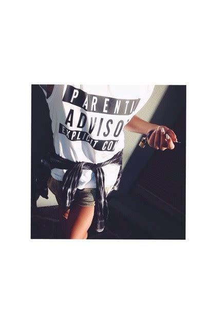 Tshirt White Parental Advisory t shirt parental advisory content white black