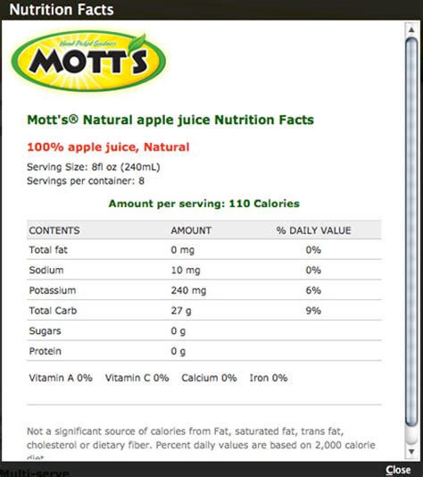apple nutrition facts mott s special 100 apple juice 64 fl oz bottles pack of