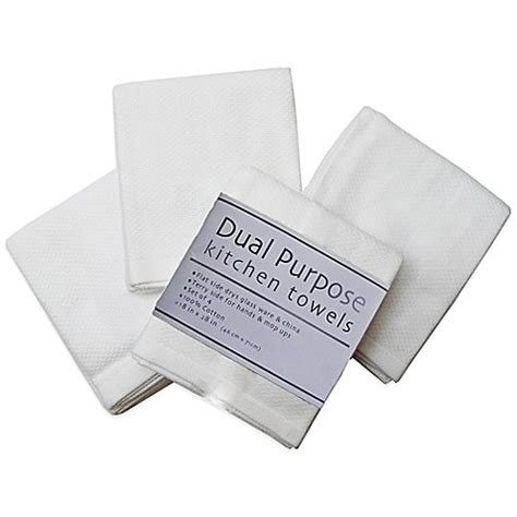 dual purpose 4 pack kitchen towels in white bed bath