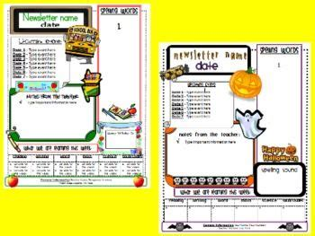 free newsletter template bundle including back to school halloween