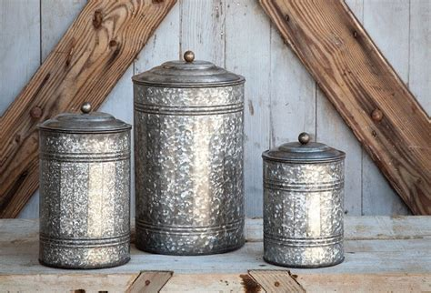 Farmhouse Kitchen Canister Sets And Galvanized Canisters Set Of 3 Farmhouse Kitchen