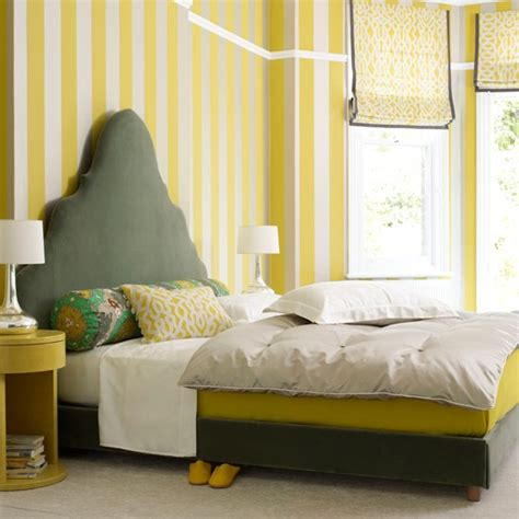 yellow wallpaper for bedrooms bedroom with striped yellow wallpaper grey and yellow colour schemes housetohome co uk