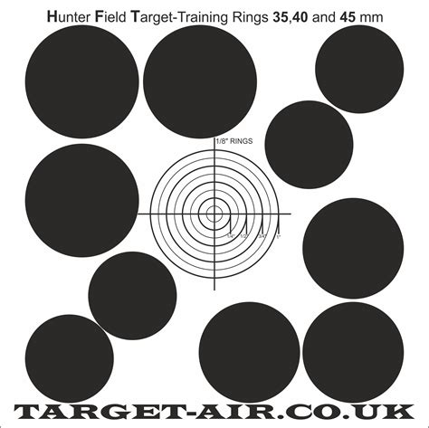 hft printable targets hunter field target training 35 40 and 45 mm kill zones