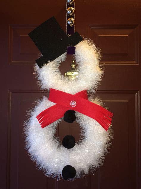 snowman wreath   white foam wreaths wrapped  white tinsel felt  hat  scarf