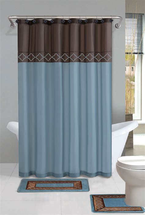 Brown Blue Modern Shower Curtain 15 Pcs Bath Rug Mat And Brown Bathroom Sets