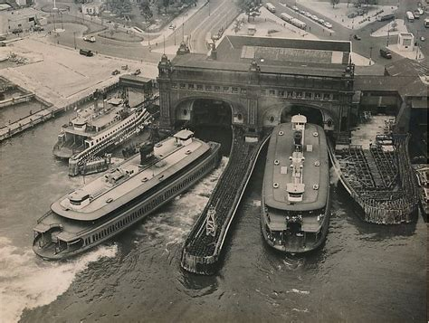ferry to ny boat show vintage aerial photo shows staten island ferries and