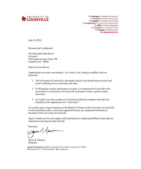Acceptance Letter Of Kentucky See Of Louisville President Ramsey S Resignation Letter Louisville