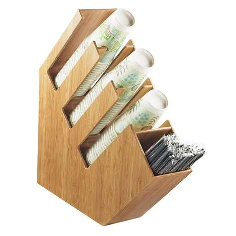 Cal Mil 2051 60 4 Section Classic Lid Cup and Straw Organizer   Bamboo