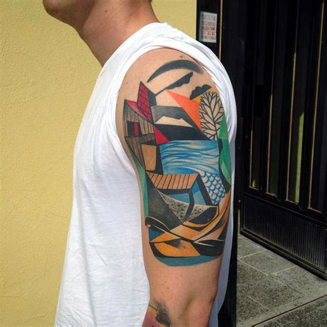 cubism tattoo new cubist tattoos by aurisch colossal