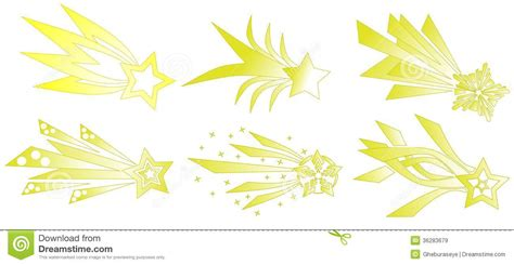 set of abstract shooting stars isolated royalty free stock