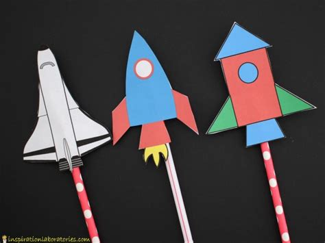 Make Paper Rocket - how to make straw rockets with printable rockets and moon