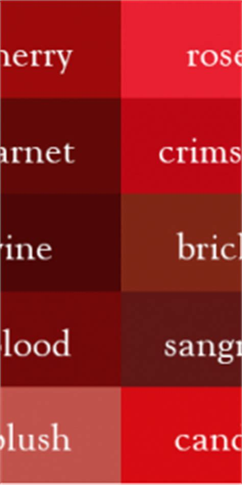 all shades of red shades of red names shades of red names extraordinary it s