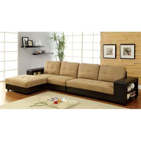 aspen collection sectional sofa set brown